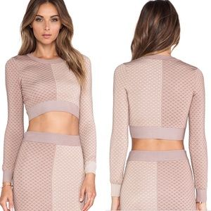 MLV Argyle Knit Stretchy Crop Top in Nude Size S